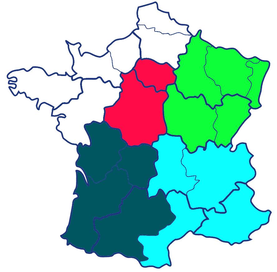 Carte des zones de livraison tournées Pyrobox 2018