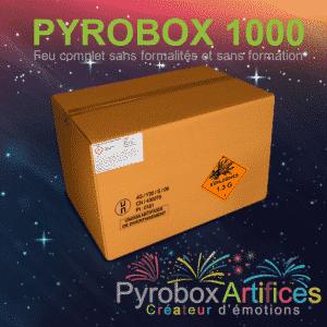 Ceci est l'image du feu d'artifice Pyrobox 1000 - produit phare de la gamme Pyrobox Artifices, LE spécialiste de l'artifice de divertissement dans tout le Massif central - www.pyrobox-artifices.com
