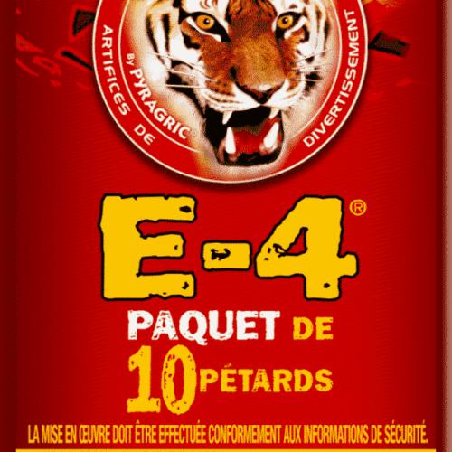 Ceci est l'image du paquet de 10 pétards E4 de la gamme Pyragric - produit de la gamme Le Tigre Pyragric disponible sur la boutique - www.pyrobox-artifices.com